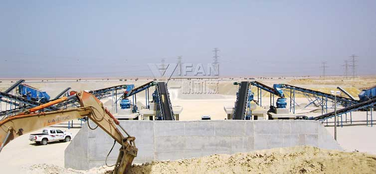 720t/h Concrete structure Limestone Crushing Plant in Saudi